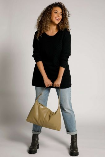 Lattice Texture Boat Neck Sweater